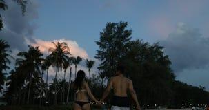 Pares jovenes que caminan en la playa en el crepúsculo que mantiene la vista posterior trasera de las manos de los turistas hombr metrajes