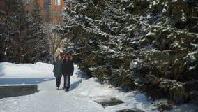 Pares jovenes que caminan en parque de la ciudad del invierno metrajes