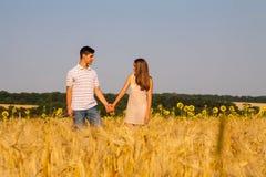 Pares jovenes que caminan a través de campo de trigo Foto de archivo