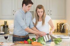 Pares jovenes que cocinan junto Imagen de archivo libre de regalías
