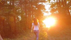 Pares jovenes que corren a través del bosque en la puesta del sol almacen de video