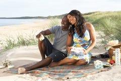 Pares jovenes que disfrutan de comida campestre en la playa fotografía de archivo libre de regalías