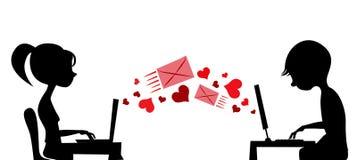 Pares jovenes que envían el correo del amor ilustración del vector