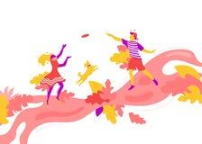 Pares jovenes que juegan el disco volador libre illustration