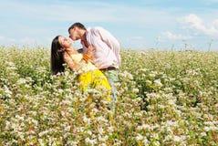 Pares jovenes que juegan en el campo de flores en asoleado Imagen de archivo