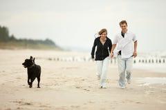 Pares jovenes que juegan en la playa con el perro Imagen de archivo