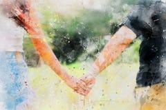 Pares jovenes que llevan a cabo el estilo del arte de la pintura de la acuarela de las manos, pintura del ejemplo fotos de archivo libres de regalías