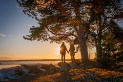 Pares jovenes que llevan a cabo las manos en la orilla del lago Peipsi en Estonia del sur Fotos de archivo