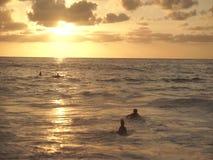 Pares jovenes que practican surf en la puesta del sol metrajes