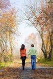 Pares jovenes que caminan en el parque foto de archivo libre de regalías