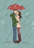 Pares jovenes que se besan debajo de un paraguas ilustración del vector