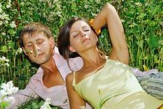 Pares jovenes que se reclinan sobre el campo de flores Fotografía de archivo