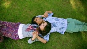Pares jovenes que se relajan en parque almacen de metraje de vídeo