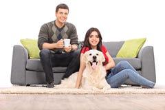 Pares jovenes que se sientan con un perro en un sofá moderno fotografía de archivo libre de regalías