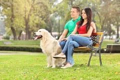 Pares jovenes que se sientan en parque con un perro Fotografía de archivo