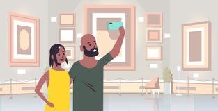 Pares jovenes que toman la foto del selfie en visitantes afroamericanos de la mujer del hombre de la cámara del smartphone en mus ilustración del vector