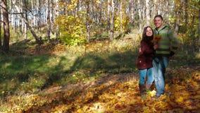 Pares jovenes románticos que hablan en bosque otoñal almacen de metraje de vídeo