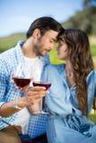 Pares jovenes románticos que sostienen las copas de vino rojas Imágenes de archivo libres de regalías