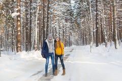 Pares jovenes sonrientes en un bosque en el invierno Imagen de archivo