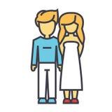 Pares jovenes y felices en concepto del amor Ilustración del Vector