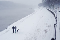 Pares jovenes y perro adolescentes que caminan al lado del río en invierno Imagen de archivo