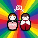 Pares lésbicas boneca casada ilustração do vetor