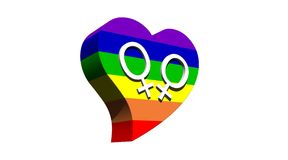 Pares lesbianos en corazón del color del arco iris Fotografía de archivo