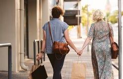 Pares lesbianos jovenes que caminan en los panieres que llevan de la ciudad Imagen de archivo