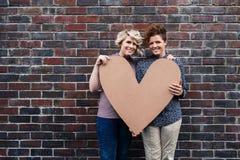 Pares lesbianos jovenes que sonríen mientras que lleva a cabo un corazón afuera Fotos de archivo