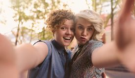 Pares lesbianos sonrientes que hacen caras y que toman selfies juntos afuera Fotos de archivo libres de regalías