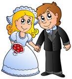 Pares lindos de la boda stock de ilustración