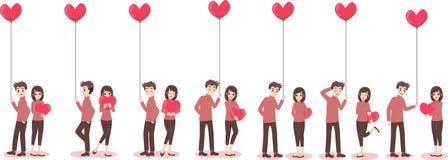 Pares lindos de la historieta del amante para el día del ` s de la tarjeta del día de San Valentín del amor ilustración del vector