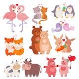 Pares lindos de los animales en vector cariñoso feliz de la fauna de la naturaleza de los personajes de dibujos animados del día  ilustración del vector