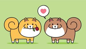 Pares lindos de los perros de Pomeranian ilustración del vector
