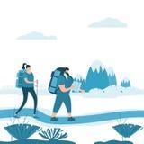 Pares lindos de los turistas en el amor que realiza la actividad turística al aire libre - viaje de la aventura, caminando deport stock de ilustración
