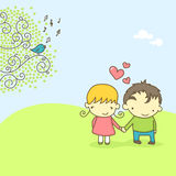 Pares lindos en amor ilustración del vector