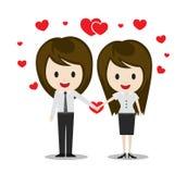 Pares lindos en el amor que lleva a cabo las manos, personajes de dibujos animados Imagen de archivo libre de regalías