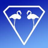 Pares Logo Banner Image del flamenco del p?jaro en fondo azul de la pendiente stock de ilustración