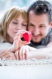 Pares loving felizes, caixa do coração à disposição imagens de stock