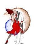 Pares loving no tango moderno da dança do estilo Fotografia de Stock Royalty Free