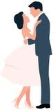 Pares loving que abraçam o homem e a mulher do comprimento completo no perfil Fotos de Stock Royalty Free