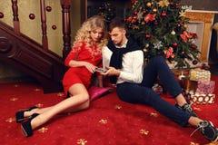 Pares macios na roupa elegante, sentando-se ao lado da árvore de Natal na casa acolhedor Foto de Stock