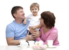 Pares maduros con el nieto Imagen de archivo libre de regalías