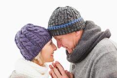 Pares maduros felices en el abarcamiento de la ropa del invierno Foto de archivo libre de regalías