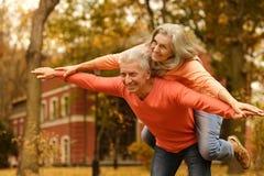 Pares maduros no parque do outono Imagens de Stock Royalty Free