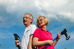 Pares maduros ou sênior felizes que fazem o passeio do Nordic Imagens de Stock Royalty Free