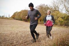 Pares maduros que correm em torno de Autumn Field Together fotos de stock