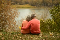 Pares maduros que se sientan cerca del lago Imagen de archivo