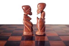 Pares, marido e esposa, representados por duas partes de ch de madeira Fotos de Stock Royalty Free