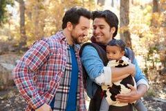 Pares masculinos alegres com o bebê que anda através da floresta da queda Imagens de Stock